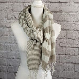 Accessories Men Tan &Cream Tissue Scarf